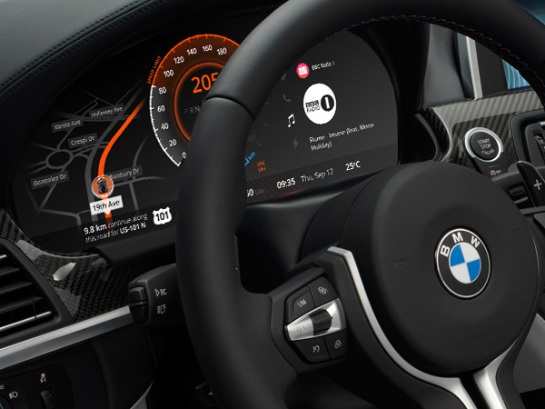 Screendesign des BMW Auto Dashboards