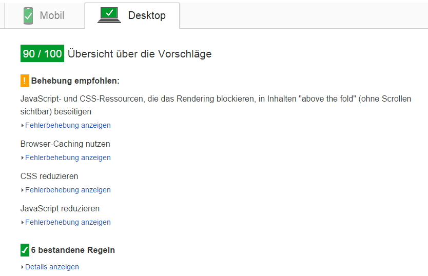 Screenshot Google Pagespeed Contao