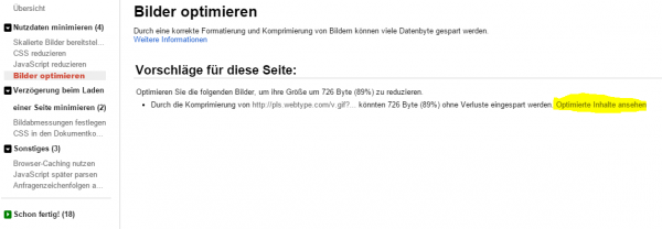 Screenshot des Google PpageSpeed Insights Plugin im Chrome