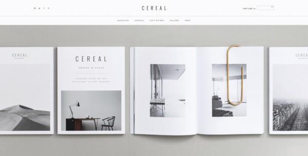 Minimalistisches Webdesign - Beispiel readcereal.com