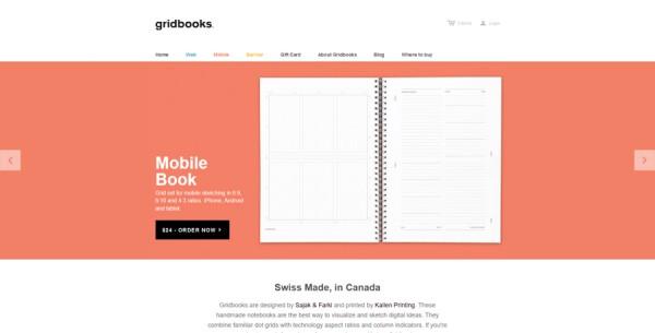 Minimalistisches Webdesign - Beispiel www.gridbooks.com