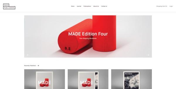 Minimalistisches Webdesign - Beispiel www.madepublishers.com