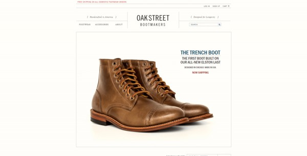 Minimalistisches Webdesign - Beispiel oakstreetbootmakers.com