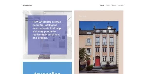 Minimalistisches Webdesign - Beispiel www.howarkitekter.se