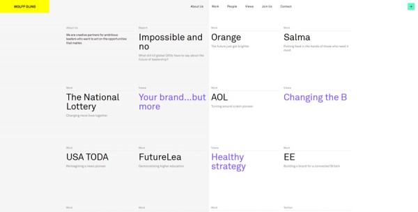 Minimalistisches Webdesign - Beispiel www.wolffolins.com