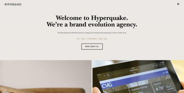 Minimalistisches Webdesign - Beispiel www.hyperquake.com