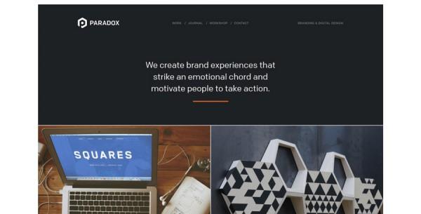 Minimalistisches Webdesign - Beispiel paradoxcreates.com