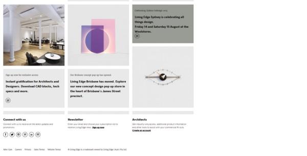 Minimalistisches Webdesign - Beispiel livingedge.com.au