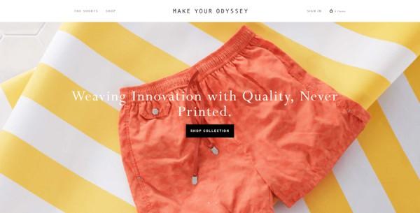 Minimalistisches Webdesign - Beispiel makeyourodyssey.com
