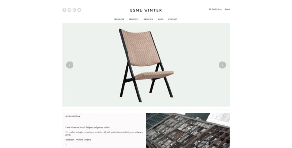 Minimalistisches Webdesign - Beispiel www.esmewinter.co.uk