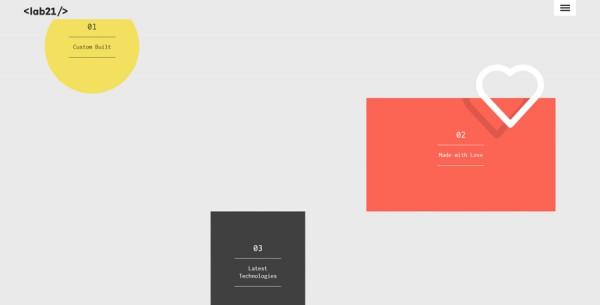Minimalistisches Webdesign - Beispiel www.lab21.gr