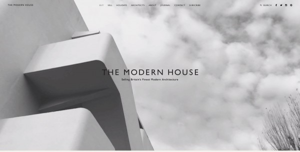 Minimalistisches Webdesign - Beispiel www.themodernhouse.net
