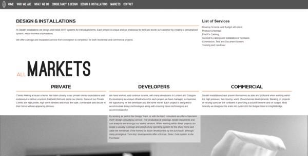 Minimalistisches Webdesign - Beispiel www.uberstealth.com