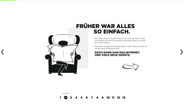 Minimalistisches Webdesign - Beispiel 361.de/responsive