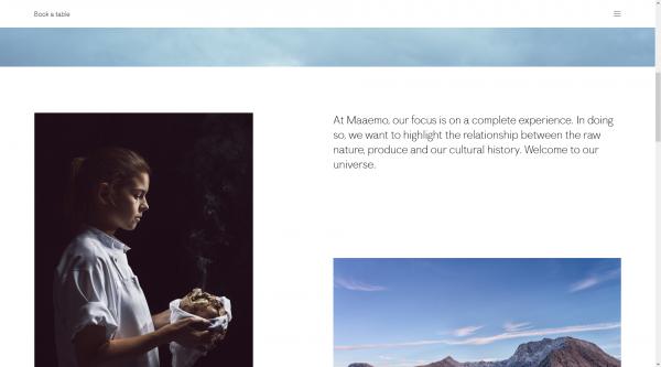 Gutes Beispiel für Webtrends 2016: Norwegisches Nobelrestaurant.